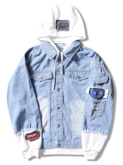 Casual Faux Pocket Ripped Letter Number Applique chaqueta con capucha - Azul Claro L Mobile