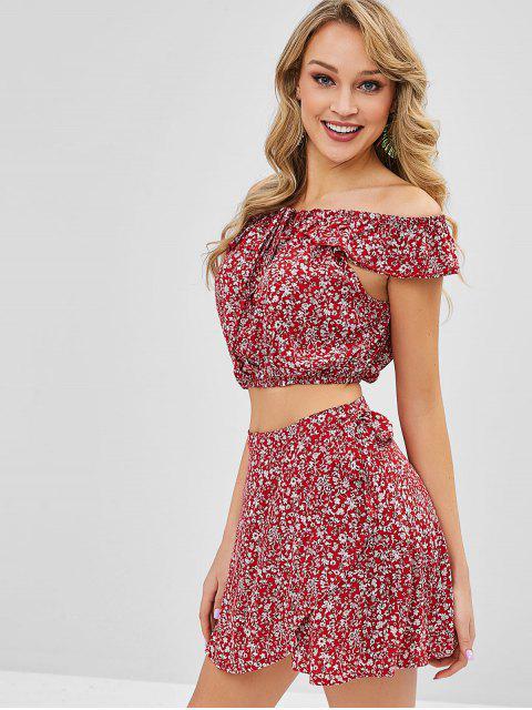 shop Tiny Floral Off Shoulder Wrap Skirt Set - CHERRY RED M Mobile