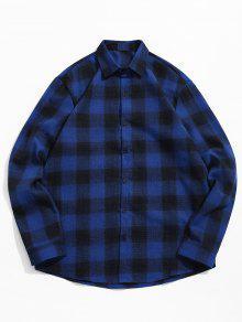 قميص بلون مغاير منقوش - أزرق 2xl