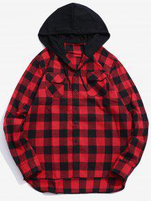 جيب هود خليط قميص منقوش - أحمر 2xl