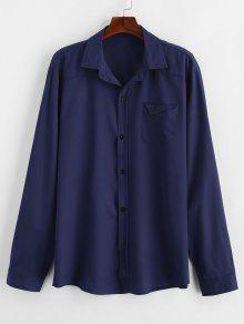 قميص الجيب الصلبة الصدر - طالبا الأزرق 2xl