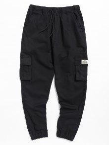بنطلون جيب كاجوال عمودي - أسود M