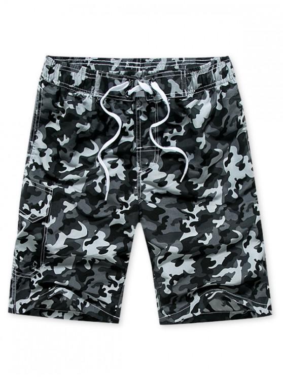 shop Camouflage Print Elastic Drawstring Shorts - GRAY XS