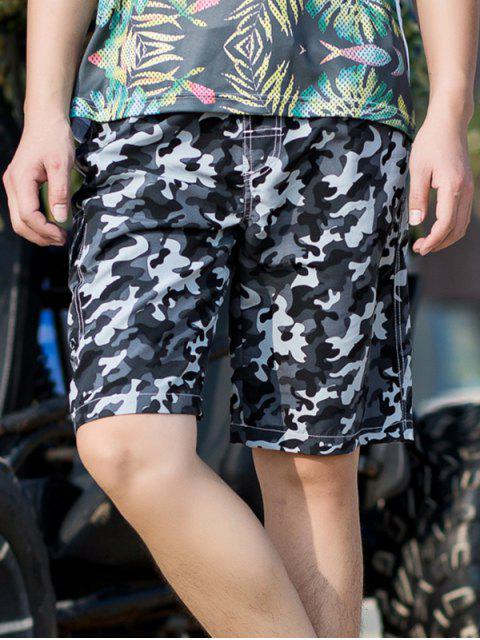 sale Camouflage Print Elastic Drawstring Shorts - GRAY M Mobile