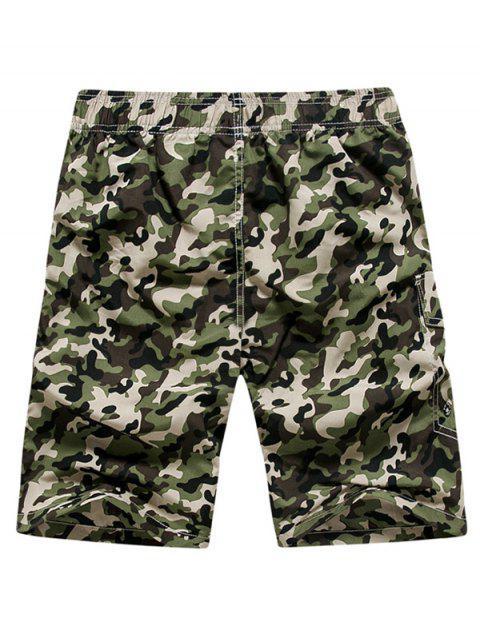 Shorts de cordón elásticos con estampado de camuflaje - Ejercito Verde XS Mobile