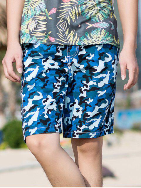 Shorts de cordón elásticos con estampado de camuflaje - Azul S Mobile