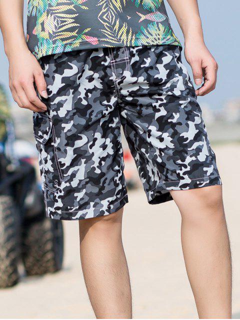 Shorts de cordón elásticos con estampado de camuflaje - Gris XS Mobile