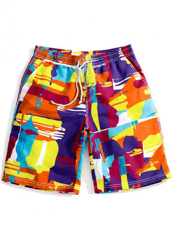 women's Colorful Abstract Painting Print Drawstring Beach Shorts - ORANGE XS
