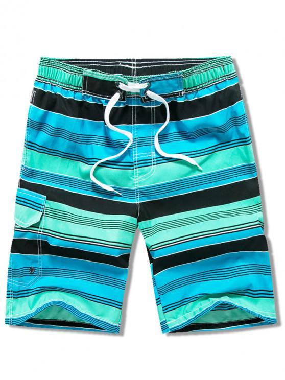 shops Side Pocket Stripes Print Drawstring Beach Shorts - SHAMROCK GREEN M