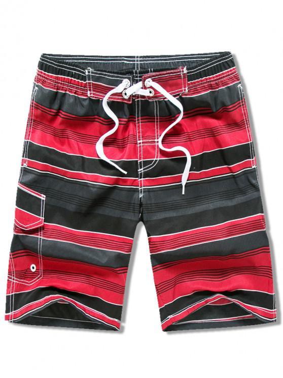Shorts de playa con cordón ajustable a rayas en el bolsillo - Rojo XS