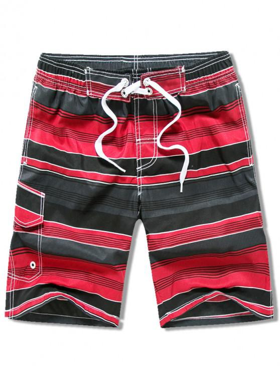 trendy Side Pocket Stripes Print Drawstring Beach Shorts - RED L
