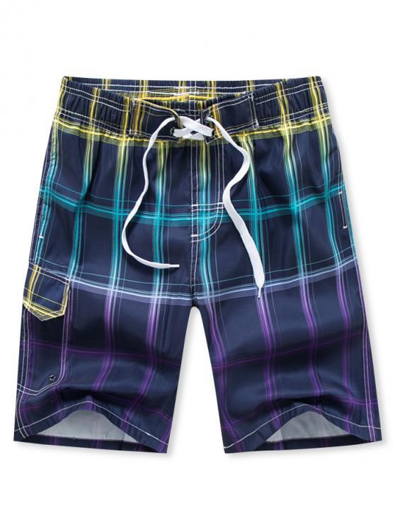 Shorts Ombre Plaid Board impresso cordão - Roxa S
