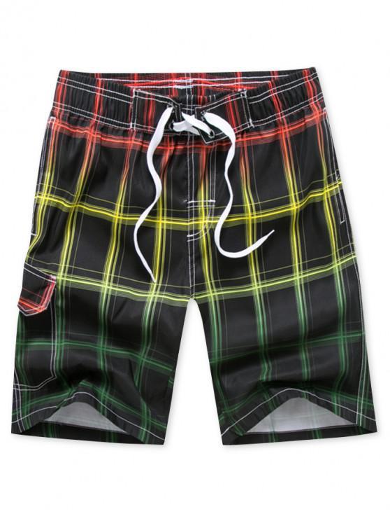 sale Plaid Printed Drawstring Board Shorts - RED M