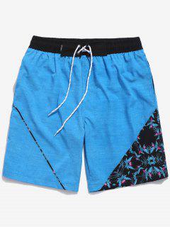 Pantalones Cortos Con Estampado De Flores Con Cordón Ajustable - Cielo Azul Oscuro Xs