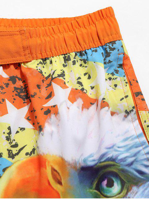 women's American Flag Eagle Print Drawstring Beach Shorts - ORANGE M Mobile