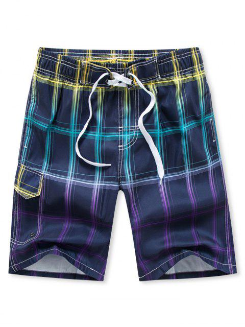 hot Ombre Plaid Printed Drawstring Board Shorts - PURPLE XS Mobile