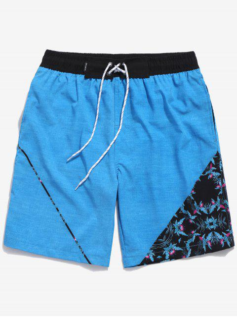 womens Flowers Printed Drawstring Board Shorts - DEEP SKY BLUE XS Mobile