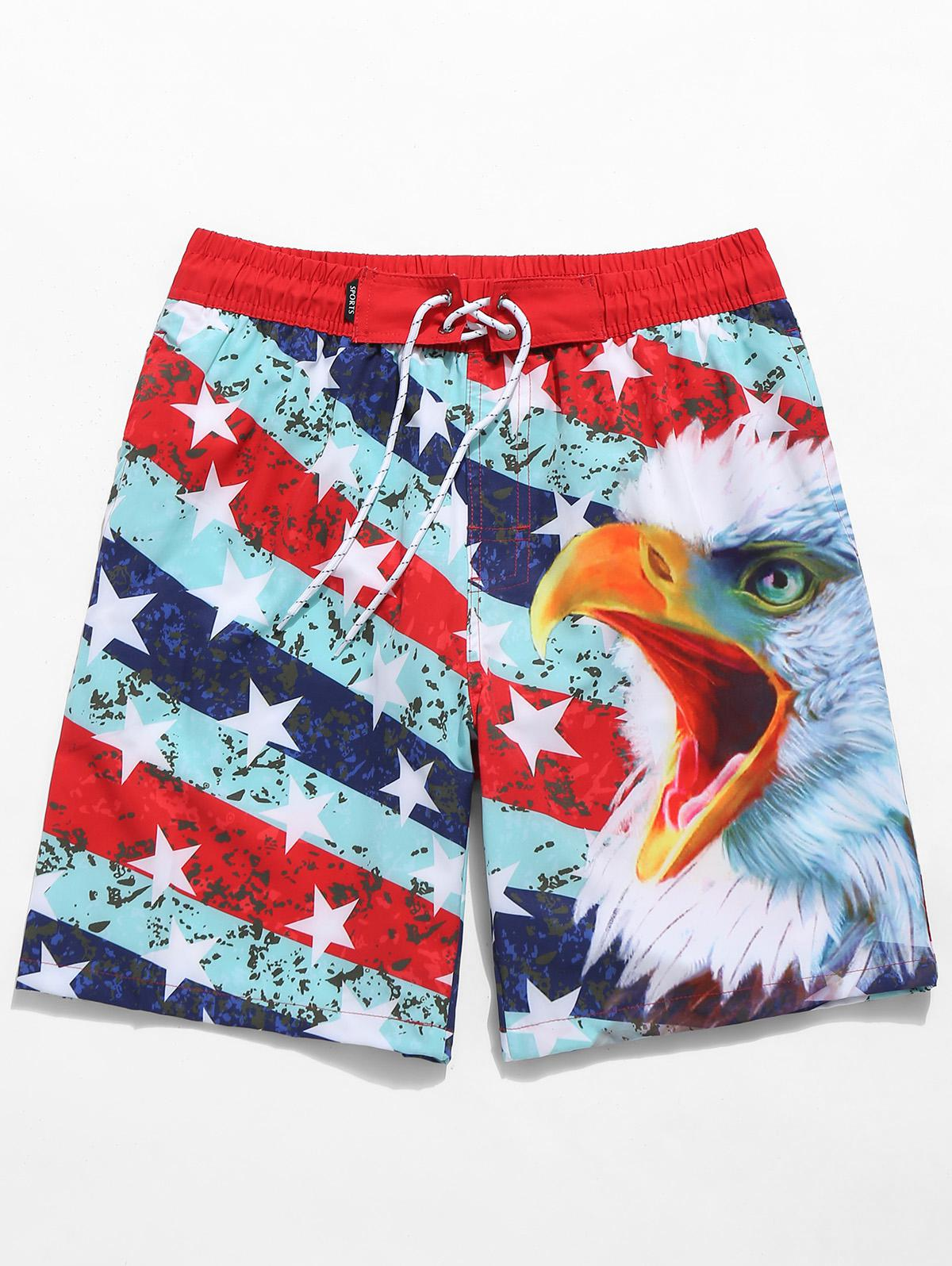 American Flag Eagle Print Drawstring Beach Shorts