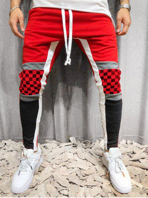 womens Colorblock Checked Print Track Pants - RED 2XL Mobile