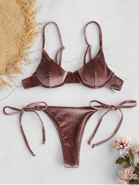 womens ZAFUL Velvet Underwire Balconette Bikini Set - LIPSTICK PINK L