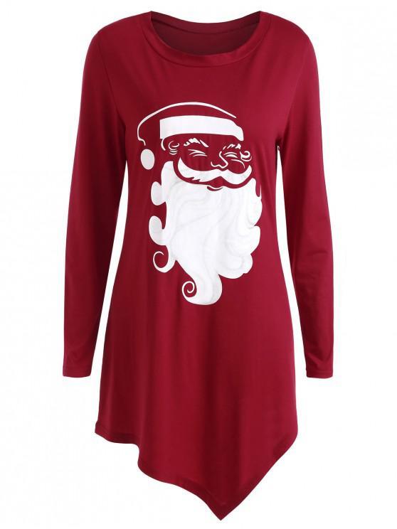 Plus Size Long Sleeve Graphic Christmas T-shirt - roșu L