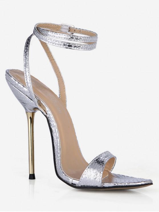 f6a893b0d4b 8% OFF  2019 Stiletto Heel Snake Pattern Ankle Wrap Sandals In ...