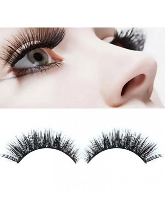 fashion Makeup204 Fashion 3D Natural Thick Black False Eyelashes 2pcs - BLACK 1 PAIR