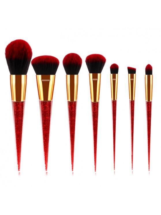 womens ZAFUL Conical Makeup Brush Transparent Handle Crystal Granules Beauty Tool 7pcs - RED WINE