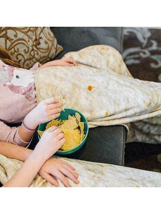 unique Child Soft Warm Round Tortilla Blanket Double Layer Throw - MILK WHITE 152X152CM