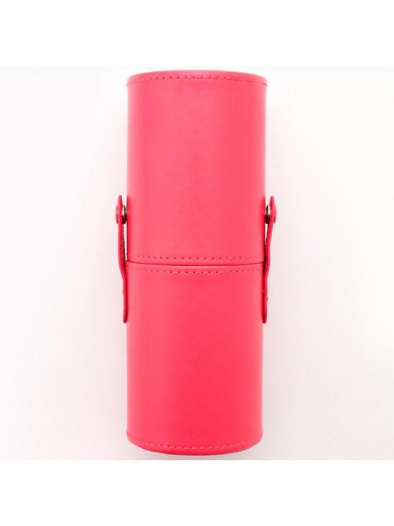 hot PU Makeup Brush Storage Bucket Cylinder Bag - RED