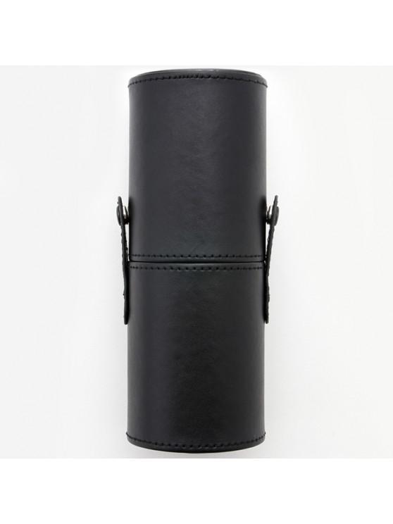 outfit PU Makeup Brush Storage Bucket Cylinder Bag - BLACK