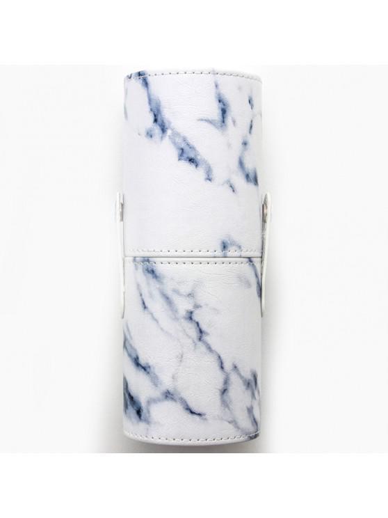 shops PU Makeup Brush Storage Bucket Cylinder Bag - NATURAL WHITE