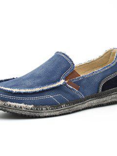 Homens De Lona De Cor Sólida Slip-on Sapatos Casuais Durável - Azul Escuro Ue 43