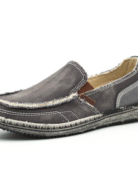 sale Men's Solid Color Canvas Slip-on Casual Shoes Durable - DARK GRAY EU 43 Mobile