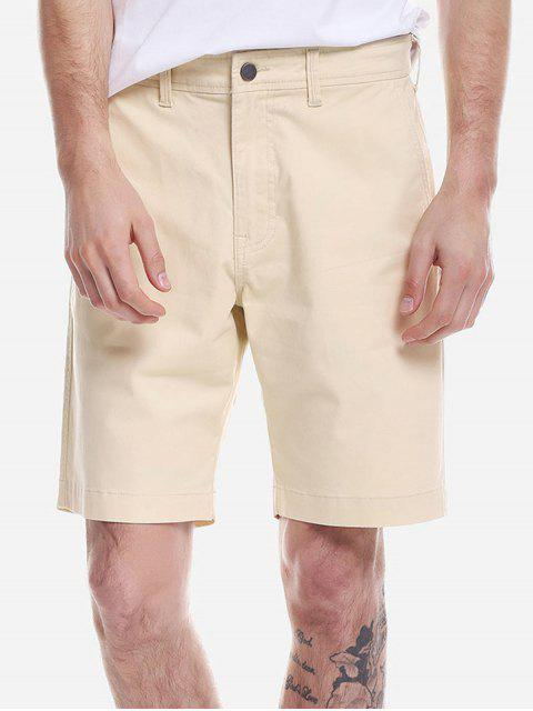 buy ZAN.STYLE Zip Fly Shorts - LIGHT KHAKI 35 Mobile