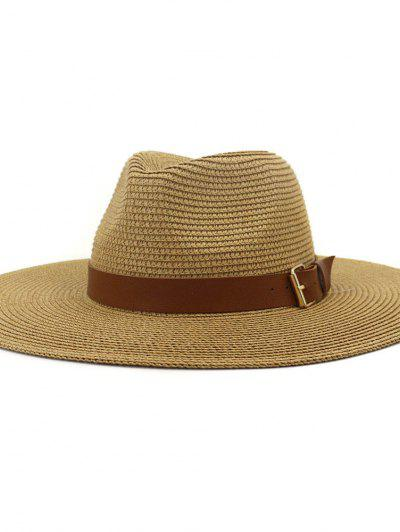British Style New Spring Summer Large Brimmed Straw Hat Sir Outdoor Travel Tourism Hat - Khaki