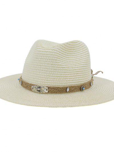 CMDJS237 Straw Hat Jazz Lady Outdoor Beach Sun Hat - Milk White