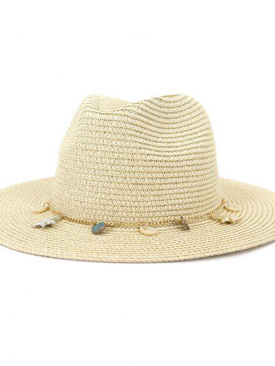 Women Outdoor Seaside Sunscreen Beach Headgear Shade Straw Sun Hat Spring Summer British Style Jazz Cap - Beige
