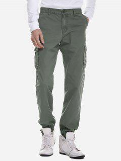 ZAN.STYLE Men Slim Cargo Pants - Army Green 40
