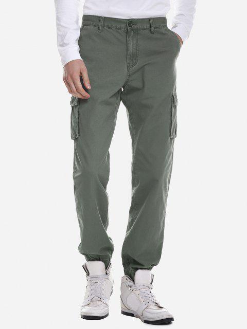 Pantalones Ajustado de Carga con Estampado de Tarjetas para Hombres - Ejercito Verde 35 Mobile