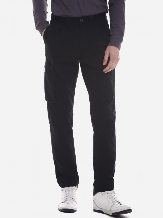 ZANSTYLE Herren Seitliche Tasche Gürtel Hose - Schwarz 34