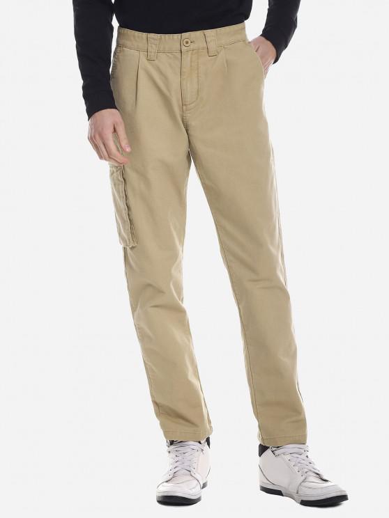 hot ZANSTYLE Men Side Pocket Belted Pants - KHAKI 35