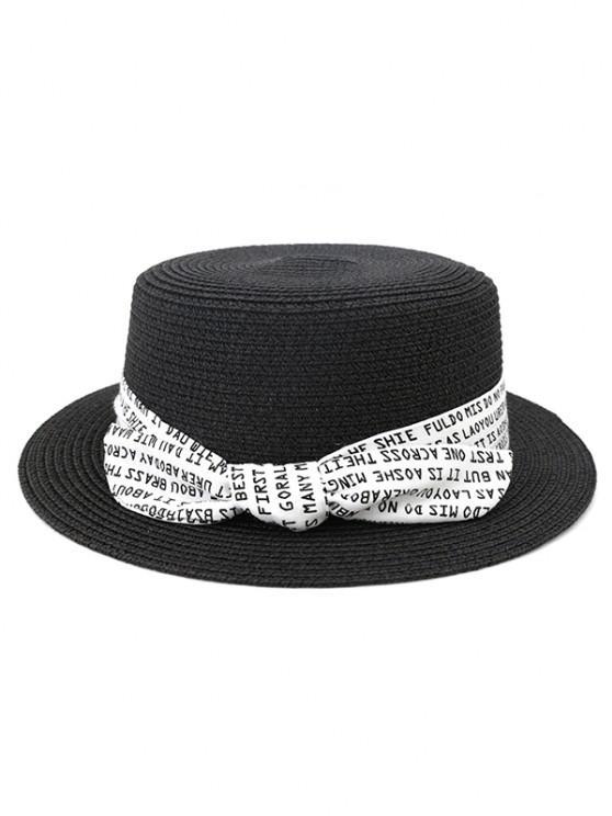 new XPD002 Sun Hat Flat-topped Men Women Beach Hat Straw Hat - BLACK