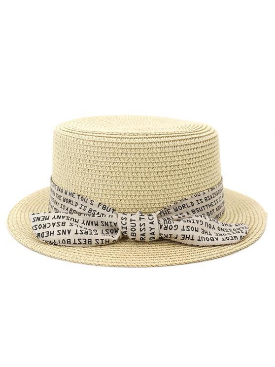 best XPD002 Sun Hat Flat-topped Men Women Beach Hat Straw Hat - BEIGE