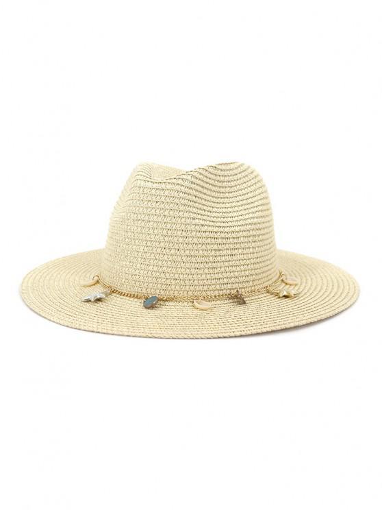 sale Women Outdoor Seaside Sunscreen Beach Headgear Shade Straw Sun Hat Spring Summer British Style Jazz Cap - BEIGE