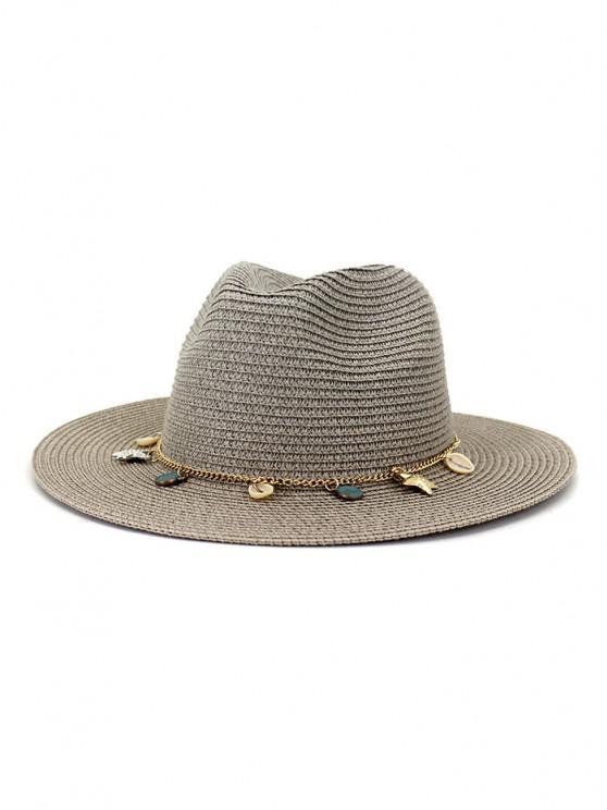 Frauen Outdoor Naht Sonnencreme Strand Kopfbedeckung Stroh Sonnenhut Frühling Sommer Britischer Stil Jazz Kappe - Grau
