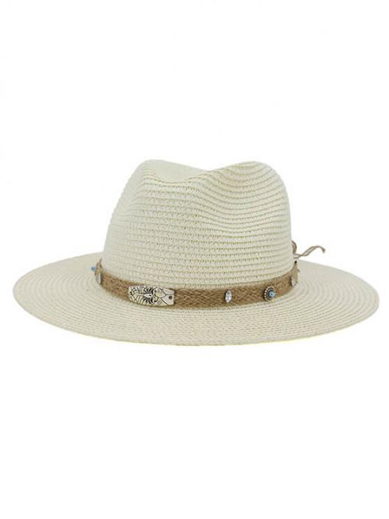 online CMDJS237 Straw Hat Jazz Lady Outdoor Beach Sun Hat - MILK WHITE