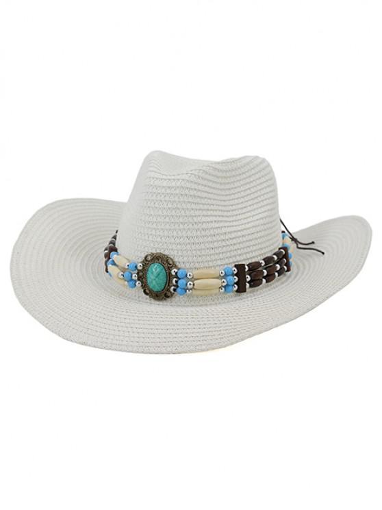women's NZCM095 Outdoor Men Women Hat Seaside Beach Sun Cowboy Hat - WHITE