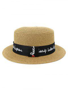 XPD001Holiday Beach Hat Straw Hat Men And Women Flat-topped Sun Hat - Khaki