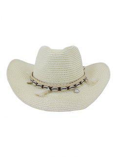 NZCM094 Chapeau De Cowboy De Plage Soleil De Bord De La Mer Pour Homme & Femme En Plein Air - Blanc Lait